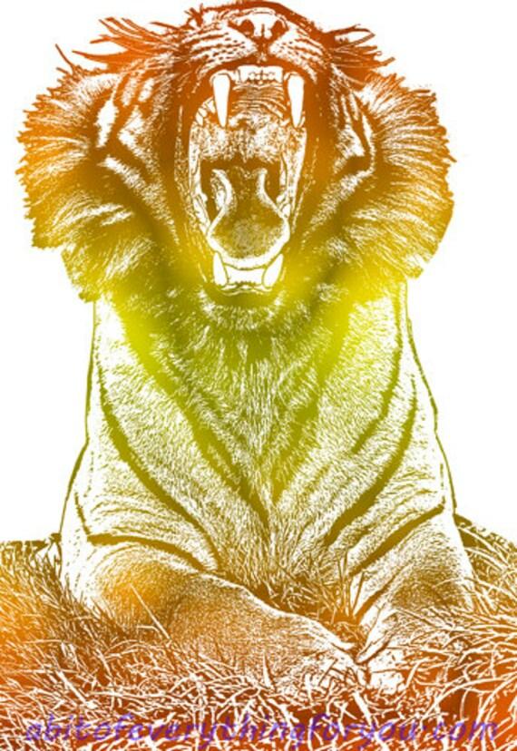 roaring tiger Animal Print Wall Art abstract home decor Printable Digital Download jungle safari downloadable nature wildlife artwork