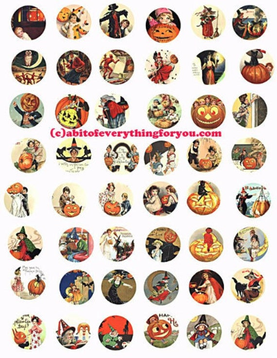 "halloween witches jacko lantern pumpkins collage sheet clip art digital download 1"" inch circles graphics images diy craft printables"