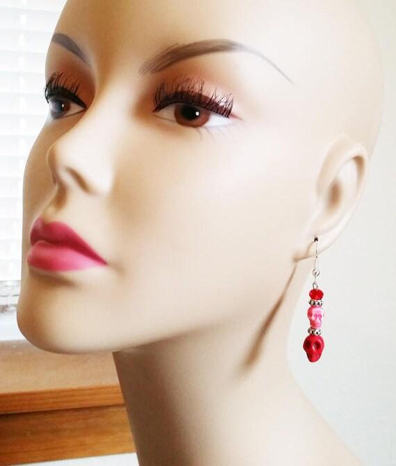 red skull bead earrings sugar skull earrings turquoise skull bead dangles skeleton jewelry day of dead handmade halloween earrings