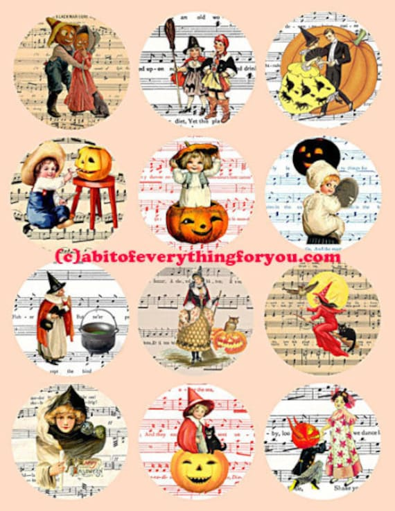 "halloween witches jacko lantern pumpkins collage sheet clip art digital download 2.5"" inch circles graphics images printables sheet music"