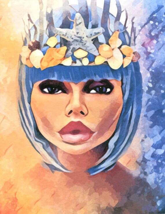 mermaid siren queen Woman original art print watercolor abstract fantasy fairytale