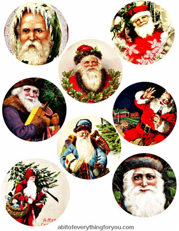 vintage santa claus christmas collage sheet clipart digital download 3 inch circles graphics images printables diy jewelry making ornaments