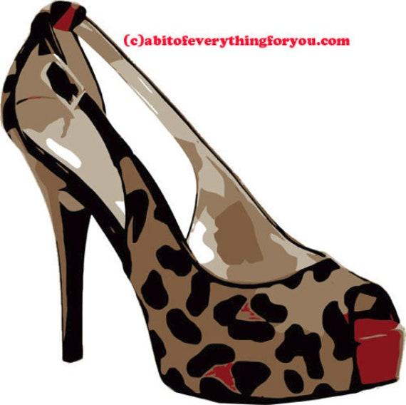 womans leopard high heels shoes printable art clipart png jpg downloadable digital download image fashion graphics art prints