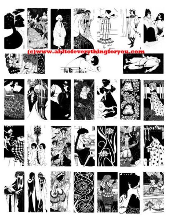 "vintage deco nouveau men women art clipart digital download domino collage sheet 1"" x 2"" inch graphics images printables black and white"