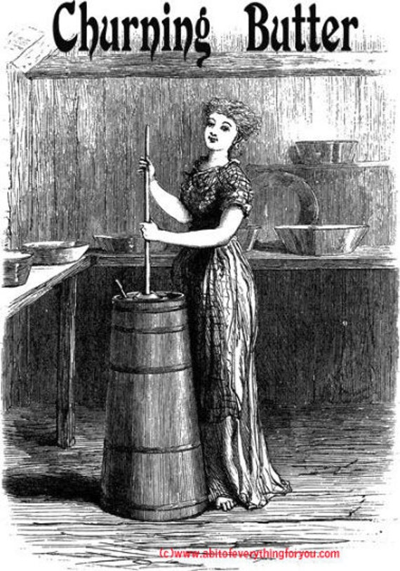 woman churning butter vintage illustration printable art clipart png digital download image graphics black and white artwork