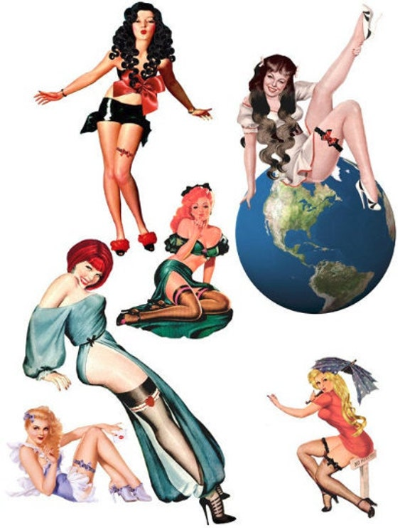 pinup girls with garters die cuts clipart digital instant download printables collage sheet