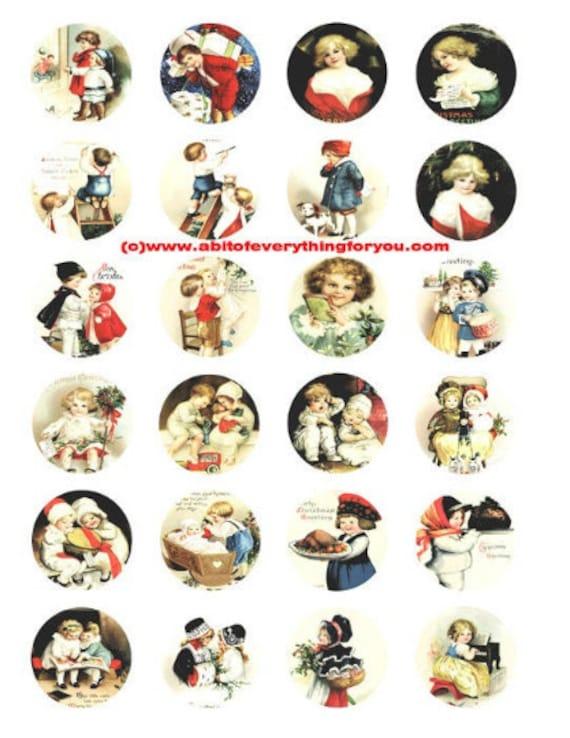 "Victorian children girls boys postcard art clip art digital download collage sheet 1.5"" inch circles graphics images craft printables"