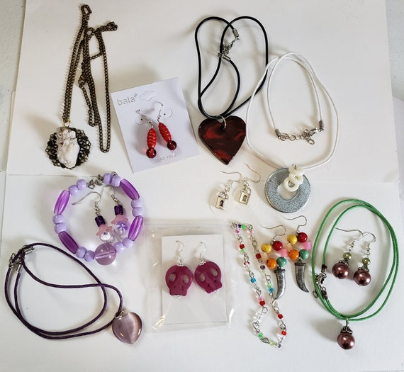 wholesale jewelry lot necklaces earrings bracelets bead drops pendants 13 piece handmade