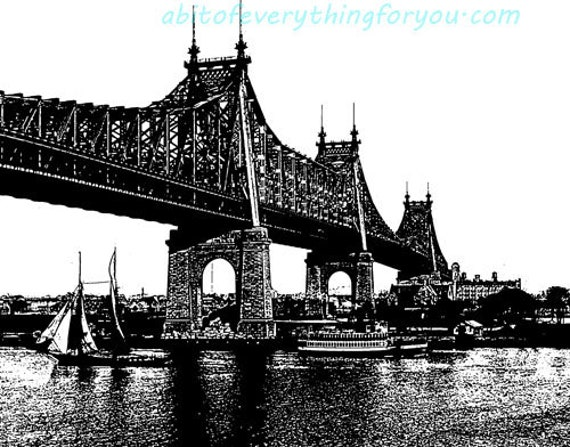 queensboro bridge abstract ink style printable seascape art download digital vintage image graphics boats ships ocean nautical