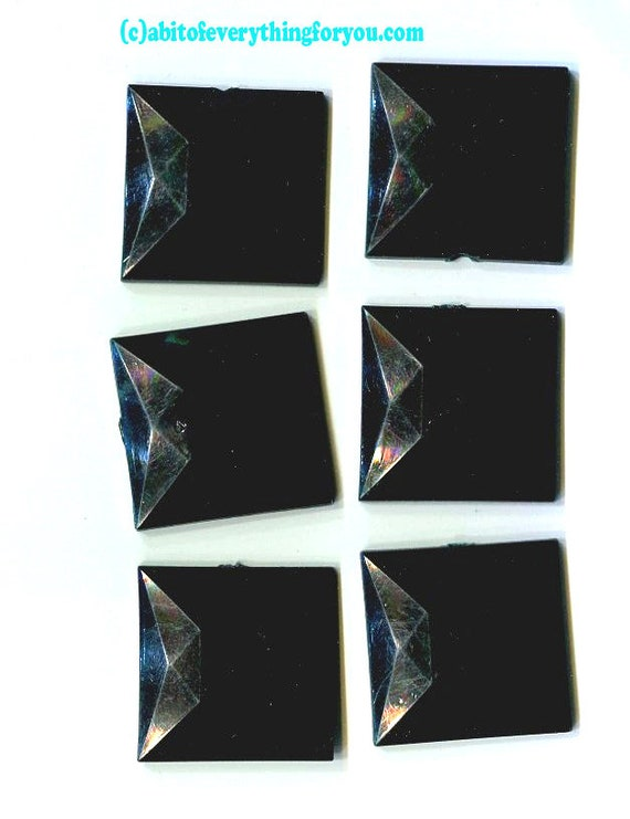 25mm black square flat back cabochons plastic cabs embellishments vintage loose