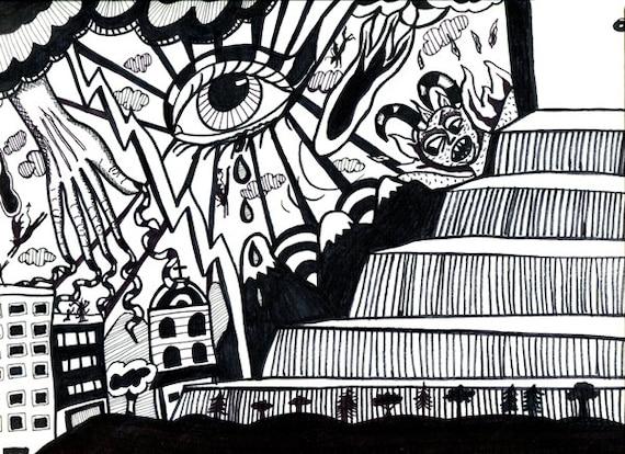 door to heaven original abstract art ink drawing surrealism monsters judgement day art modern artwork by Elizavella