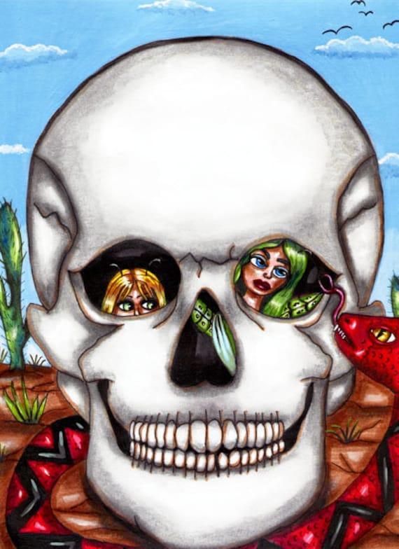 fairies hiding in skull from red snake original art print modern fantasy fairytales artwork