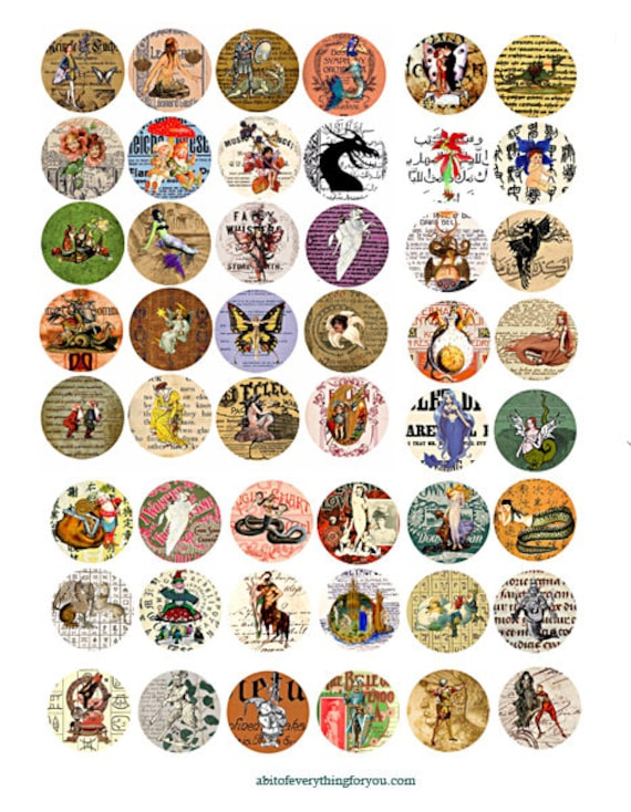 collage sheet 1 inch circles vintage fairytale fantasy creatures old ephemera downloadable clipart digital graphics images cameo pendant