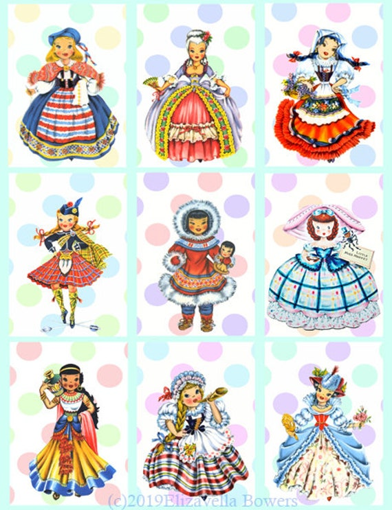 vintage lovely little ladies printable collage sheet clipart download digital image graphics polka dots downloadable cards tags scrapbooking