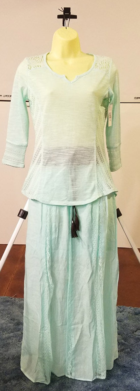2 light blue lace blouse long skirt lace belt outfit size small MED womens boho clothes lot