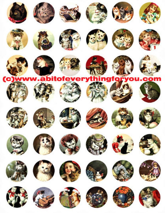 kitten cats vintage postcard art clipart digital download collage sheet 1 inch circles graphics animal pet images printables pendants