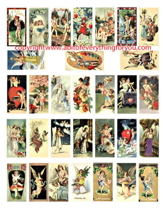 "angels cupids cherubs vintage art clip art  domino collage sheet 1"" x 2"" inch graphics images digital download craft printables"