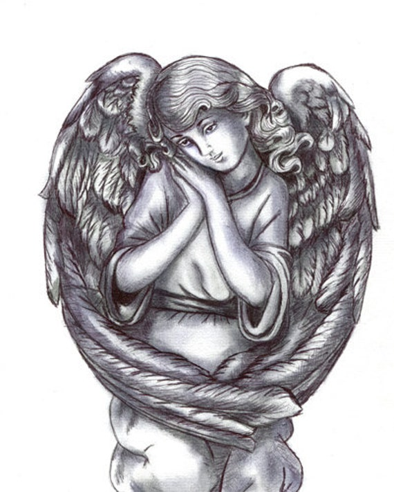 ORIGINAL angel girl child pen ink drawing fantasy religious artwork Elizavella