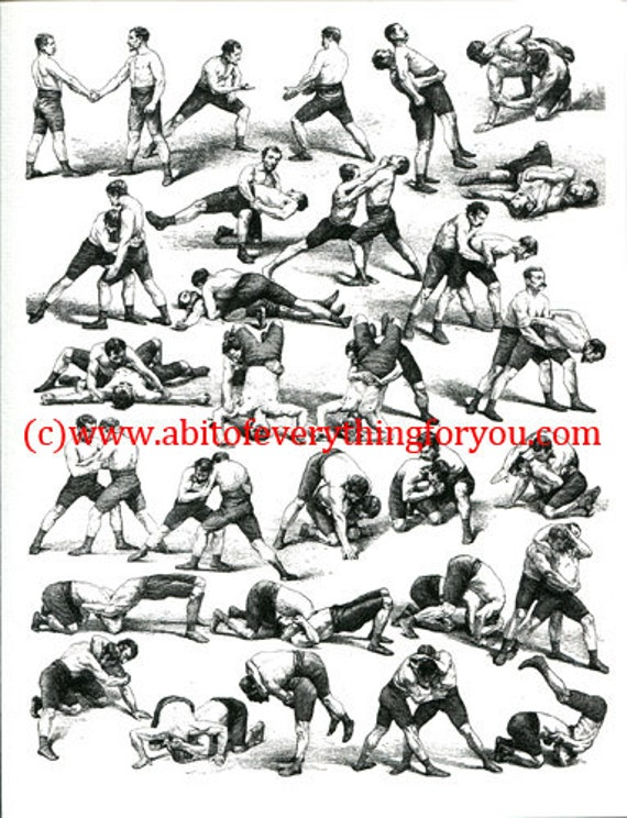 wrestling positions sports art print wrestler moves black & white 1800s art illustration