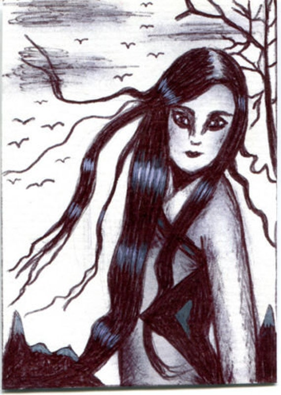 woman windy day long hair original aceo art drawing ATC trees mountains birds black and white miniature art