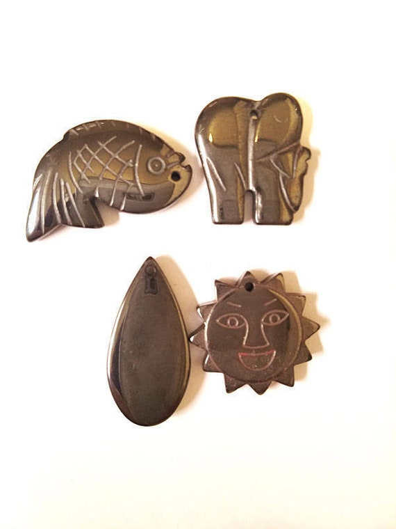 black hematite pendants lot sun fish elephant tear drop charms stone Gemstone