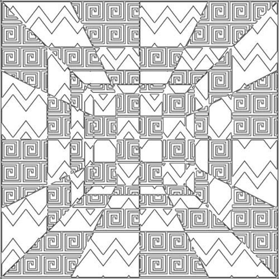 geometric perspective abstract pattern art coloring page printable download digital colouring pages black and white line art image graphics