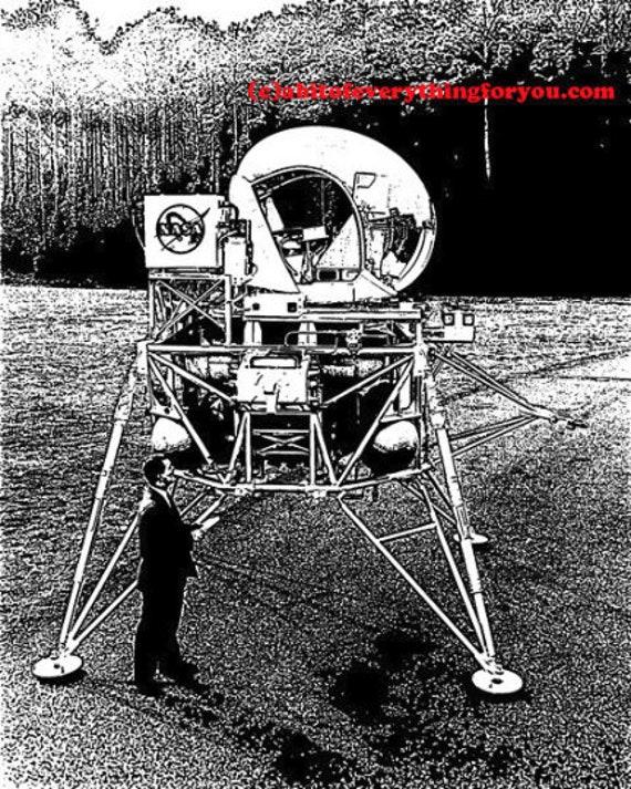lunar landing vehicle space travel printable art print png transparent digital download vintage image graphics DIY crafts home decor