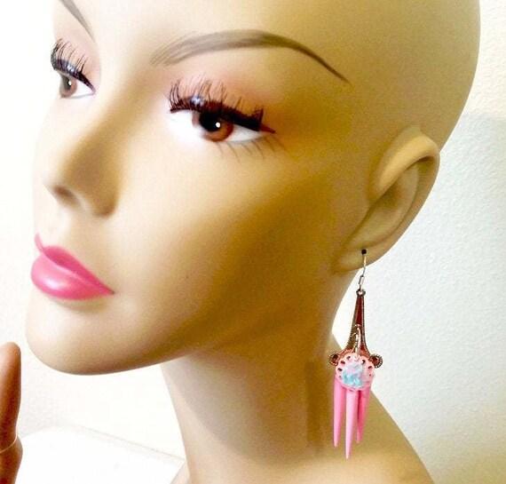 blue rose pink chandelier earrings pastel colors flower long dangles spike charm handmade jewelry