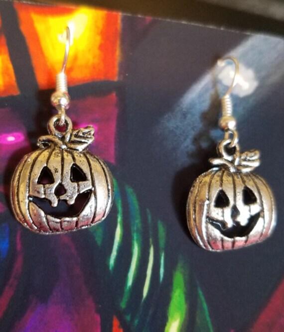 jacko lantern pumpkin earrings halloween tibetan silver antique look jewelry