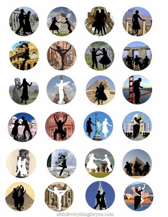 """dancing people silhouette wonders of the world  art clip art digital download collage sheet 1.5"""" inch circle graphics images printables"""