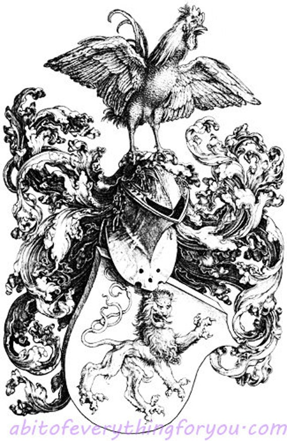 printable rooster shield coat of arms vintage art print clipart png downloadable digital image graphics digital stamp downloads