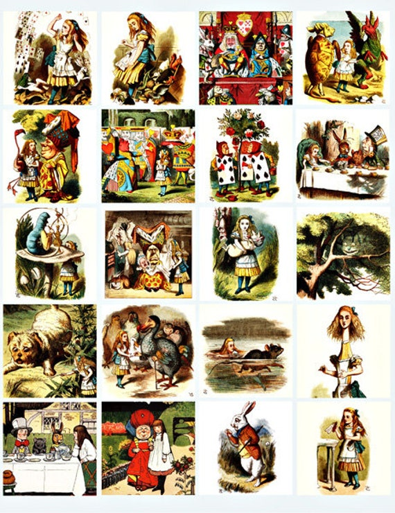 antique alice in wonderland art clip art digital download collage sheet 2 inch squares graphics images printables for pendants pins magnets