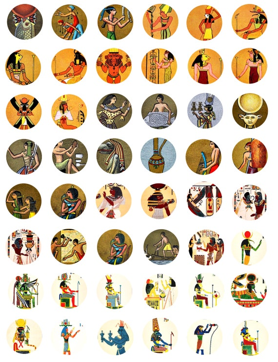 egyptian king queen gods goddesses collage sheets for jewelry 1 inch circles clip art digital download graphics images pendant  printables