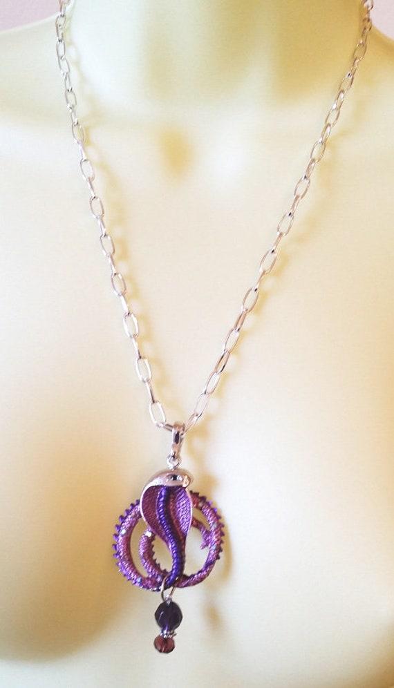 CRYSTAL SNAKE NECKLACE purple cobra pendant silver chain handmade costume jewelry