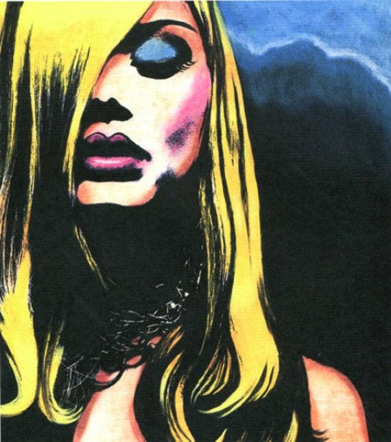 Tortured Soul Original Goth Dark Art print blonde womans face By Elizavella