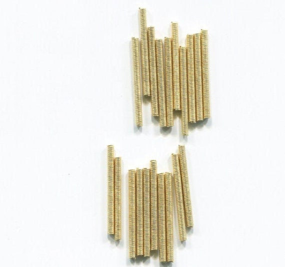 vintage metal tube coil beads spring beads bugle beads 12 piece 2mm x 25mm golden steampunk jewelry making supplies