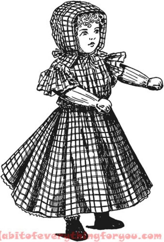 old wooden doll vintage printable art png jpg clipart digital download image toys downloadable graphics black and white artwork