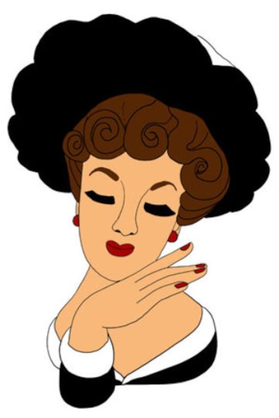 retro 1930s fancy black hat lady face printable art cartoon pinup girl face png jpg svg vector instant download clipart digital image