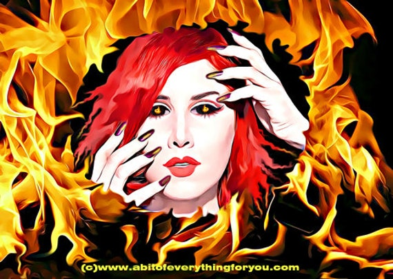 fire goddess woman printable art print original fantasy art digital download graphics images elements flames artwork