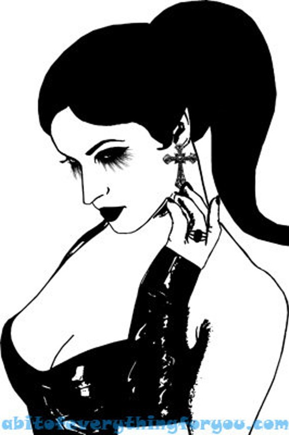 gothic pinup girl woman art printable print clipart png jpg download digital image downloadable goth beauty graphics