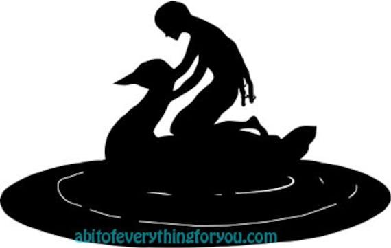 girl riding swan art print clipart png downloadable wildlife animal fantasy digital download vintage image graphics