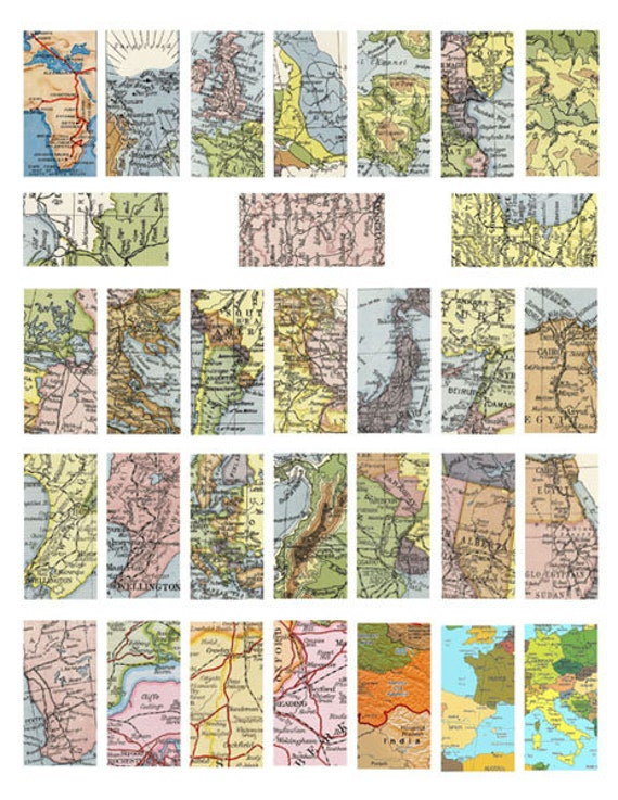 """vintage world maps clipart domino collage sheet 1"""" x 2"""" inch vintage images digital download pendant jewelry making printables"""