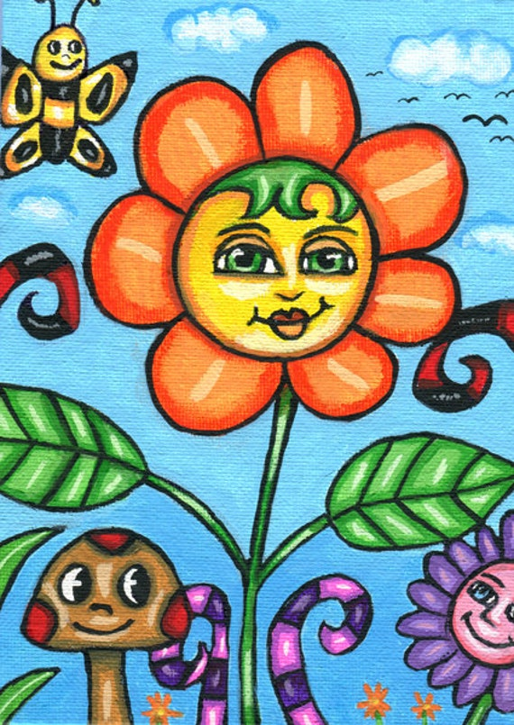 "small paintings 5"" x 7"" original painting happy whimsical flower garden fantasy fairytale art acrylics canvas"