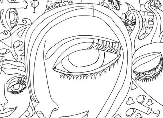 abstract womens faces cat faces art coloring page printable art download digital coloring book pages cat lovers image graphics colouring
