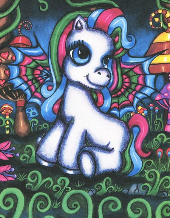Pegasus Pony original art print fantasy fairytale art, modern original artwork, original painting, fairy folk art childrens room wall art