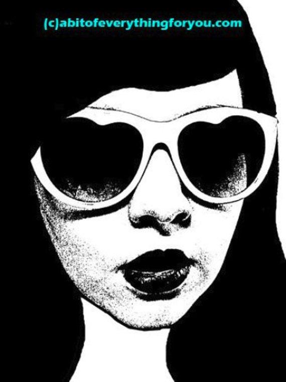 girl wearing heart sun glasses printable art print png jpg file clipart digital download image graphics beauty fashion black and white art