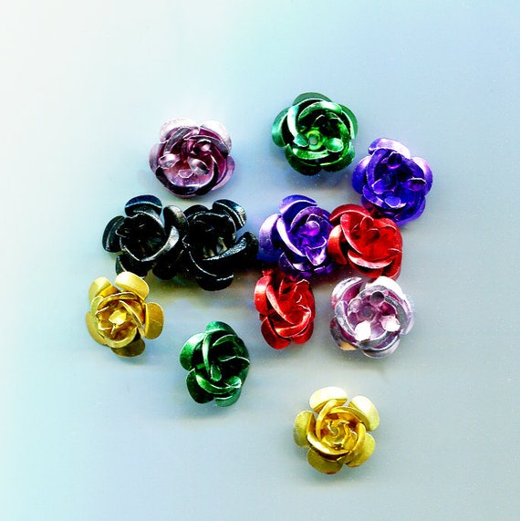 aluminum rose beads metal flowers charms 12 piece 15mm jewelry making supply