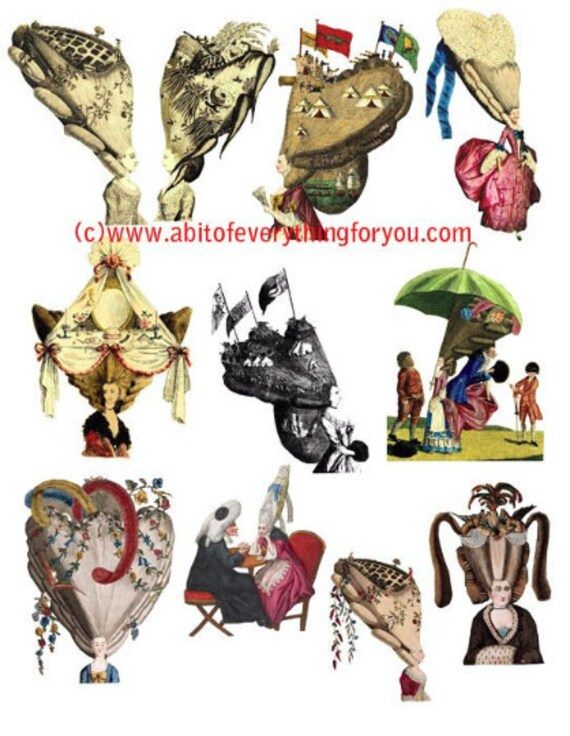 big hair victorian edwardian wig hair styles art clipart digital download die cuts craft cut outs sheet graphics images printables