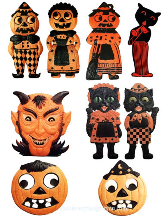 vintage halloween jacko lanterns pumpkins black cats die cuts clipart digital instant download craft printables cut outs collage sheet