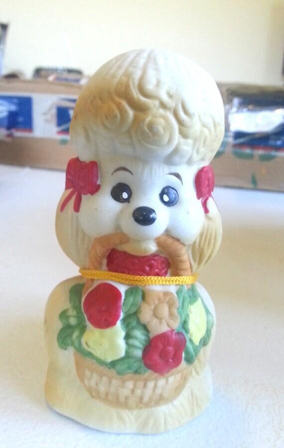 1980s Jasco french poodle figurine vintage porcelain bell dog figurine bisque figurine ceramic bells animal home living room decor
